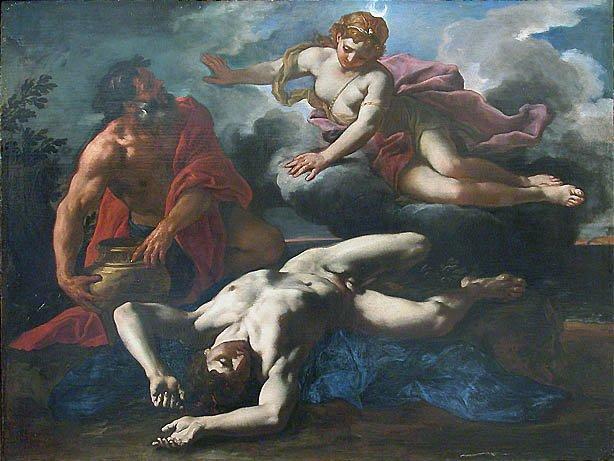 Artemis-Diana sobre el cuerpo de Orión