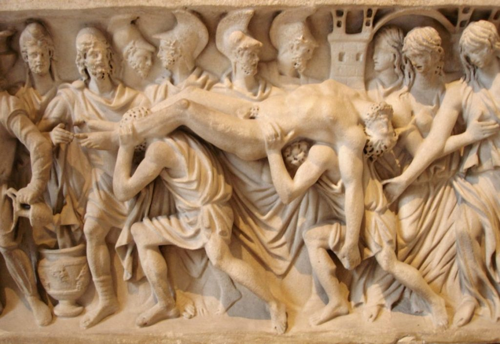 Hector es llevado de regreso a Troya.